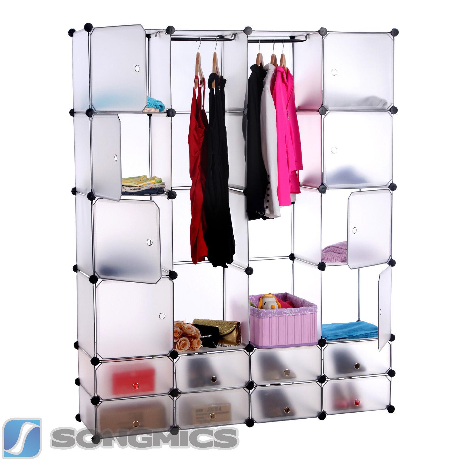Skládací šatní skříň bílá DIY 180x145x37cm