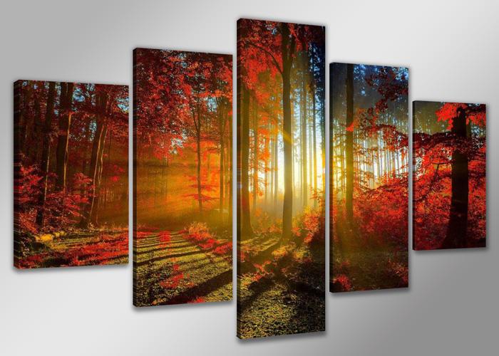 Dekorační obraz 160x80cm - 5 dílů - 5530 - les